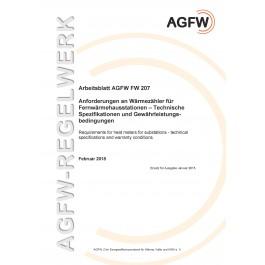 FW 207 - Anforderungen an Wärmezähler für Fernwärmehausstationen - Technische Spezifikationen und Gewährleistungsbedingungen (Printversion)