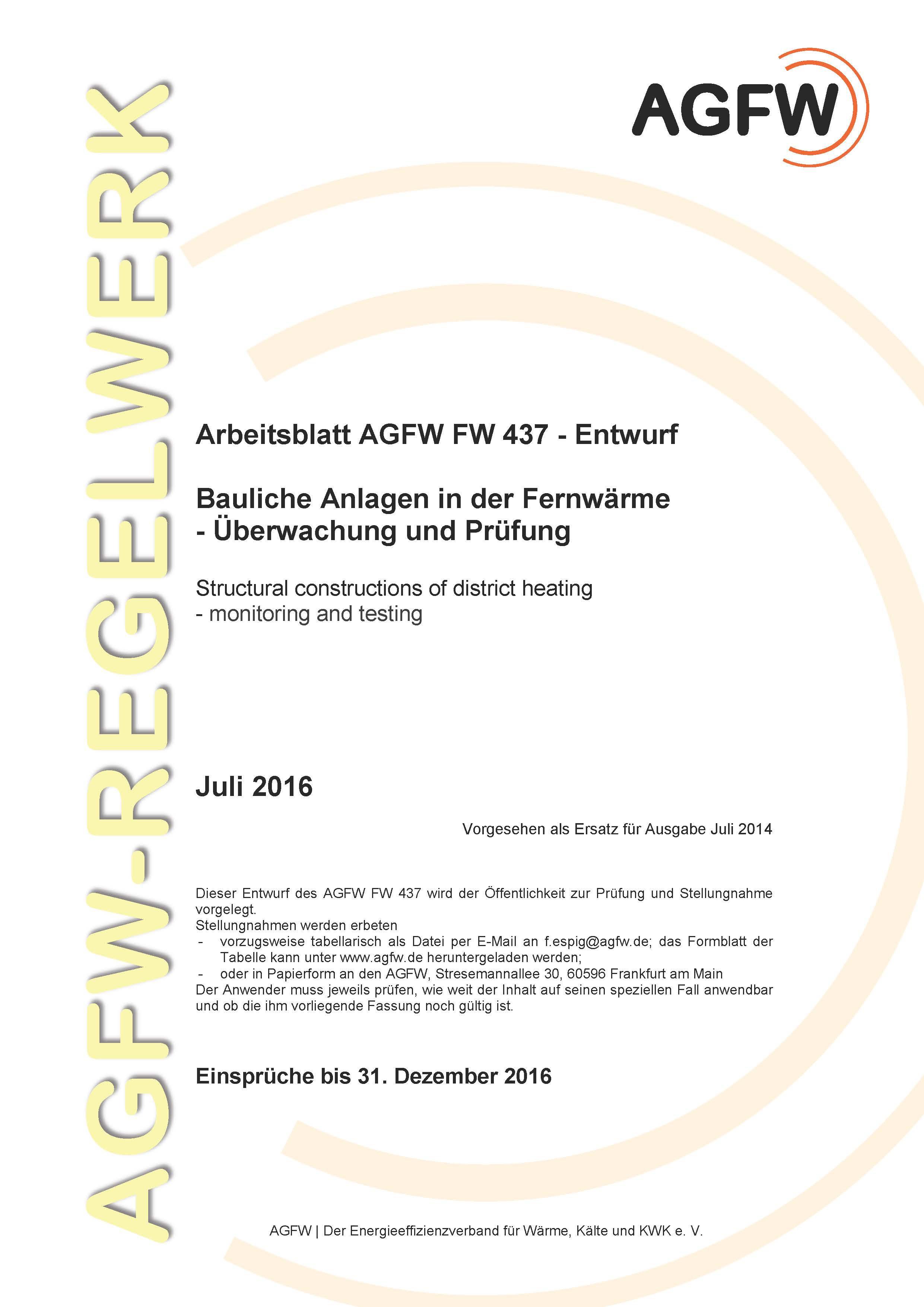 FW 437 Änderung 1 - Bauliche Anlagen in der Fernwärme - Überwachung ...