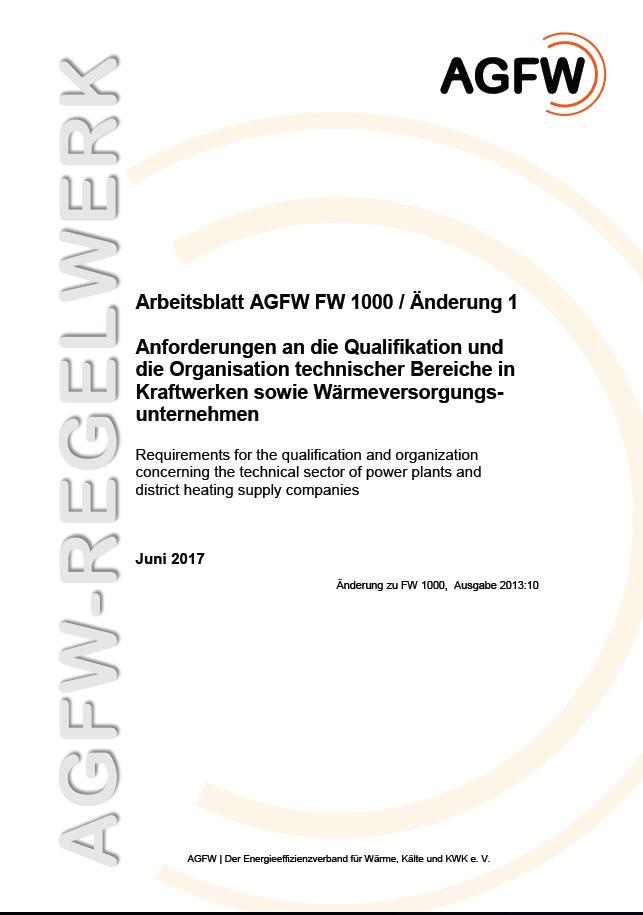 FW 1000 Änderung 1 - Anforderungen an die Qualifikation und die ...
