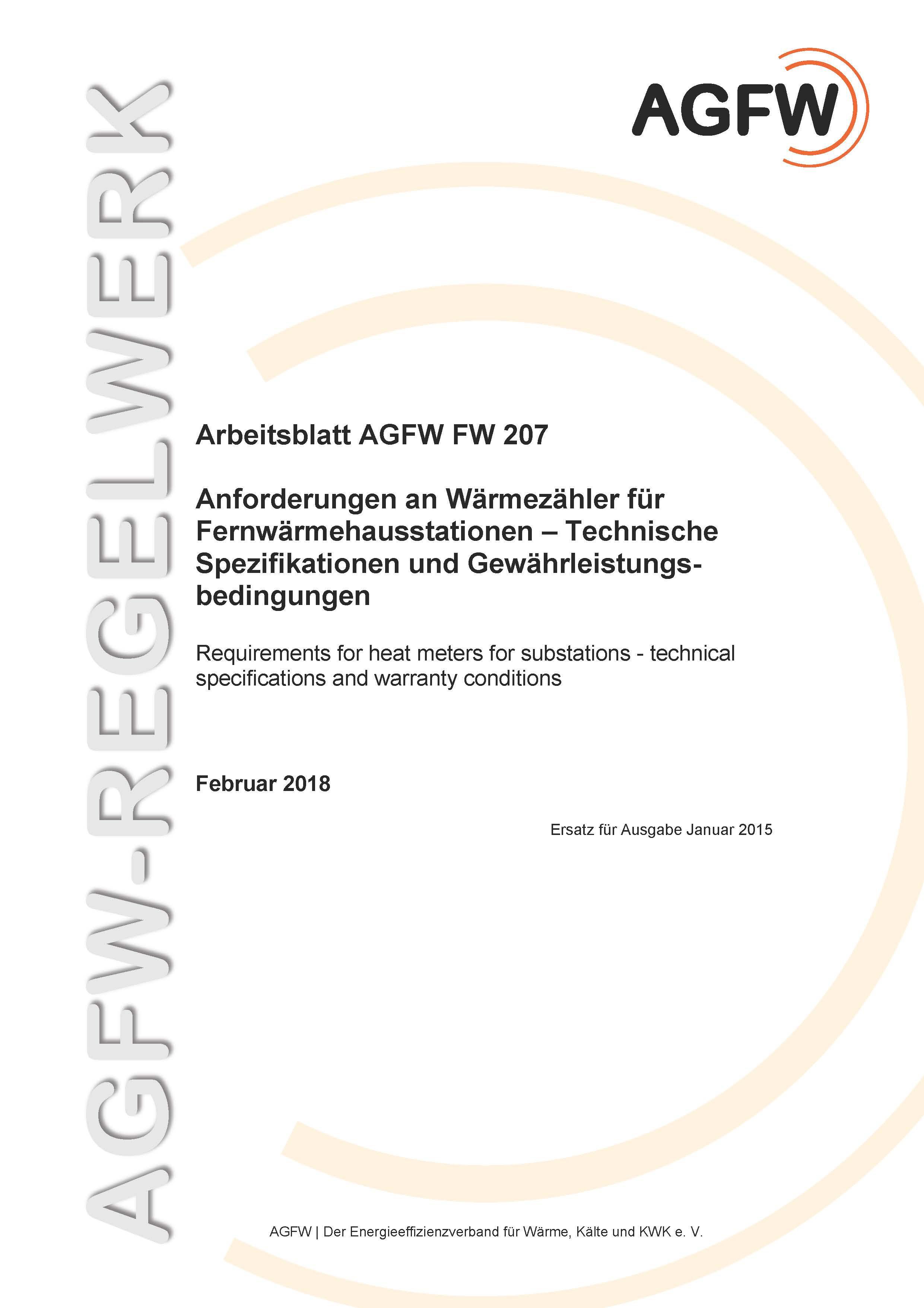 FW 207 - Anforderungen an Wärmezähler für Fernwärmehausstationen ...