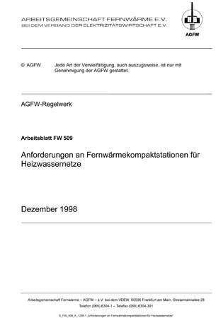 FW 509 - Anforderungen an Fernwärme-Kompaktstationen für ...