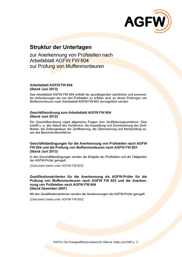 FW 604 - Muffenmontage an Kunststoffmantelrohren (KMR); Anerkennung ...