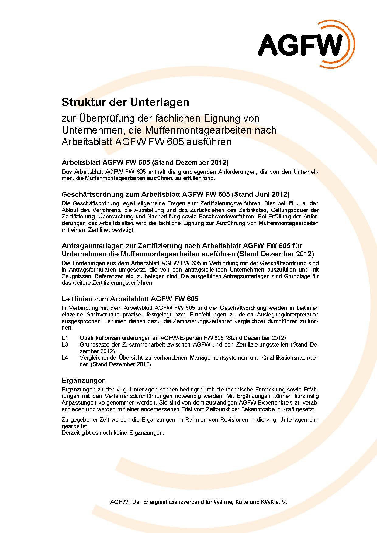 FW 605 - Muffenmontage an Kunststoffmantelrohren (KMR) und flexiblen ...
