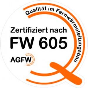 """Aufkleber """"Zertifiziert nach FW 605"""" als Folienschnitt für Fahrzeuge - Größe 40 x 40 cm"""