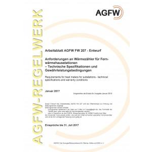 FW 207 Entwurf - Anforderungen an Wärmezähler für Fernwärmehausstationen - Technische Spezifikationen und Gewährleistungsbedingungen (Printversion)