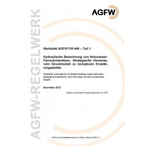 FW 440 Teil  1 - Hydraulische Berechnung von Heizwasser-Fernwärmenetzen - Strategische Hinweise, vom Grundmodell zu komplexen Erweiterungsstufen