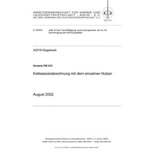FW 213 - Kaltwasserabrechnung mit dem einzelnen Nutzer