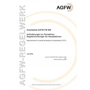 FW 508 - Anforderungen an Fernwärme-Regeleinrichtungen für Hausstationen