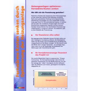 """Kurzbroschüre """"Fernwärme-Kosten senken durch Optimierung der Heizungsanlage"""""""