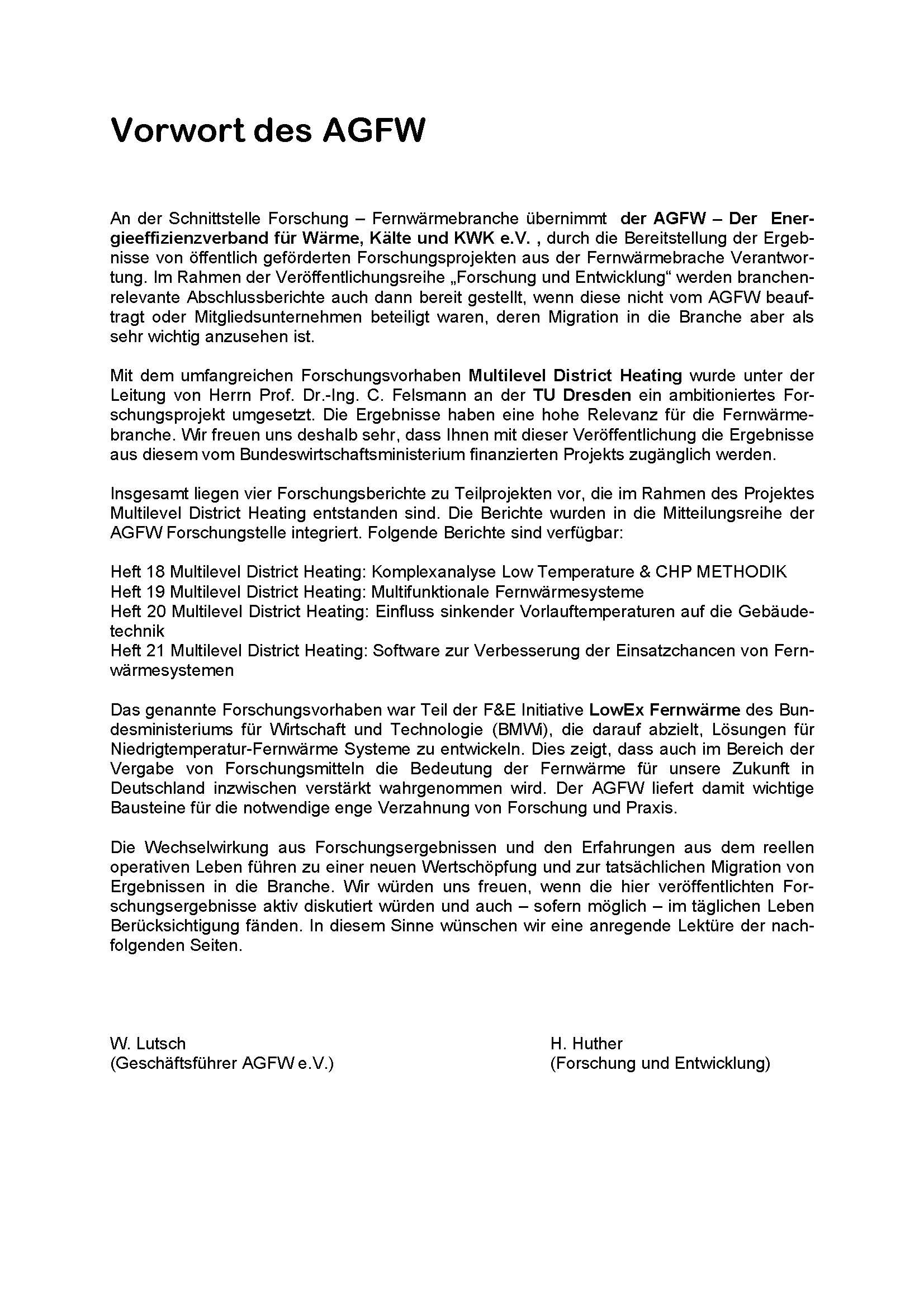 LowEx Fernwärme | Multilevel District Heating | Multifunktionale ...