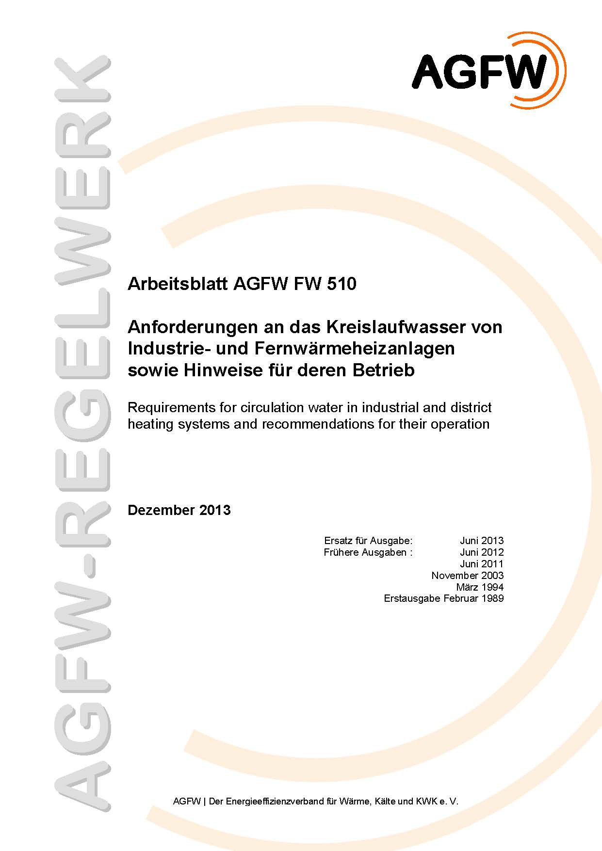 FW 510 - Anforderungen an das Kreislaufwasser von Industrie- und ...
