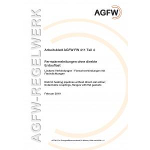 FW 411 Teil 4 - Fernwärmeleitungen ohne direkte Erdauflast - Lösbare Verbindungen, Flanschverbindungen mit Flachdichtungen