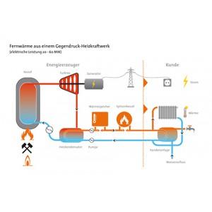 Fernwärme aus einem Gegendruck-Heizkraftwerk (elektrische Leistung 20 - 60 MW)